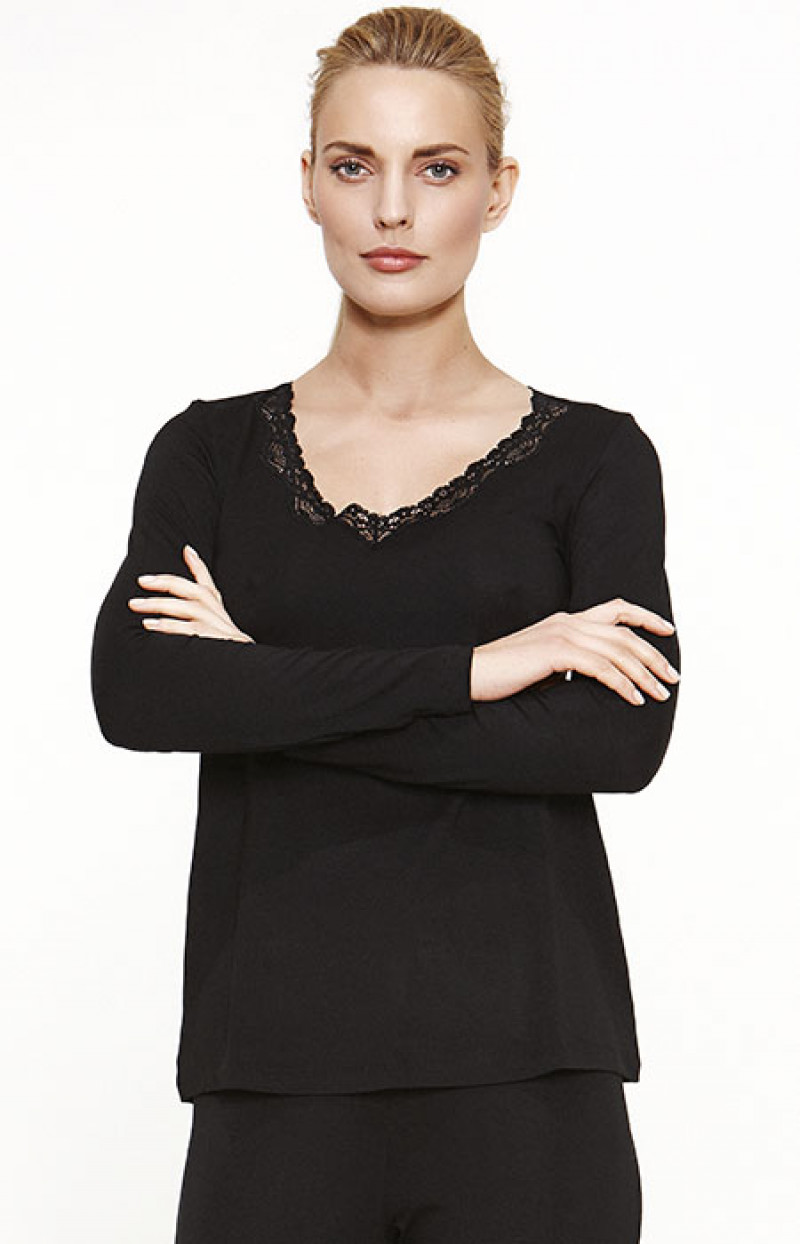 Uzun Kol Pijama Üst / Siyah