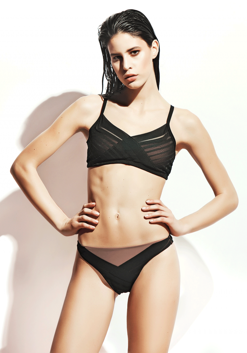 Transparan Tül Detaylı Düşük Bel Bikini / Vizon
