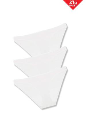 İnce Kenarlı 3'lü Slip / Beyaz