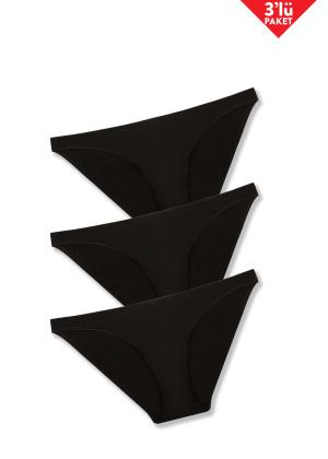 İnce Kenarlı 3'lü Slip / Siyah