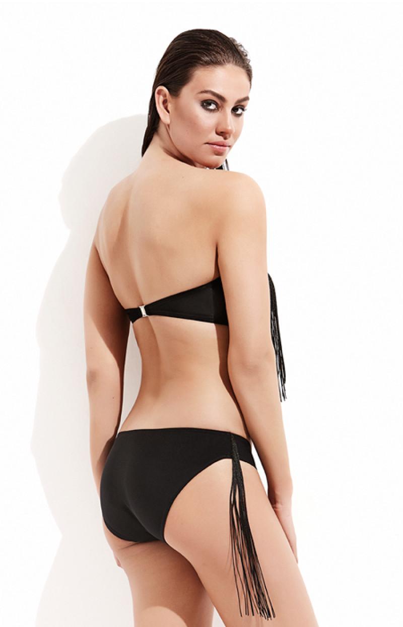 Staplez Püsküllü Bikini / Siyah