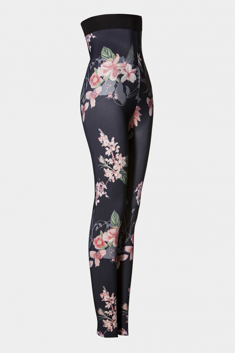 Çiçek Desenli Korse Tayt / Siyah - Pudra